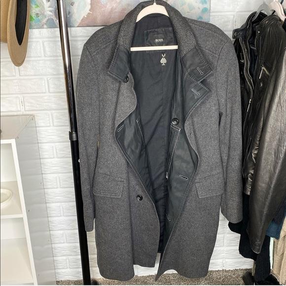 Vintage Hugo Boss Dark Grey New Wool Coat